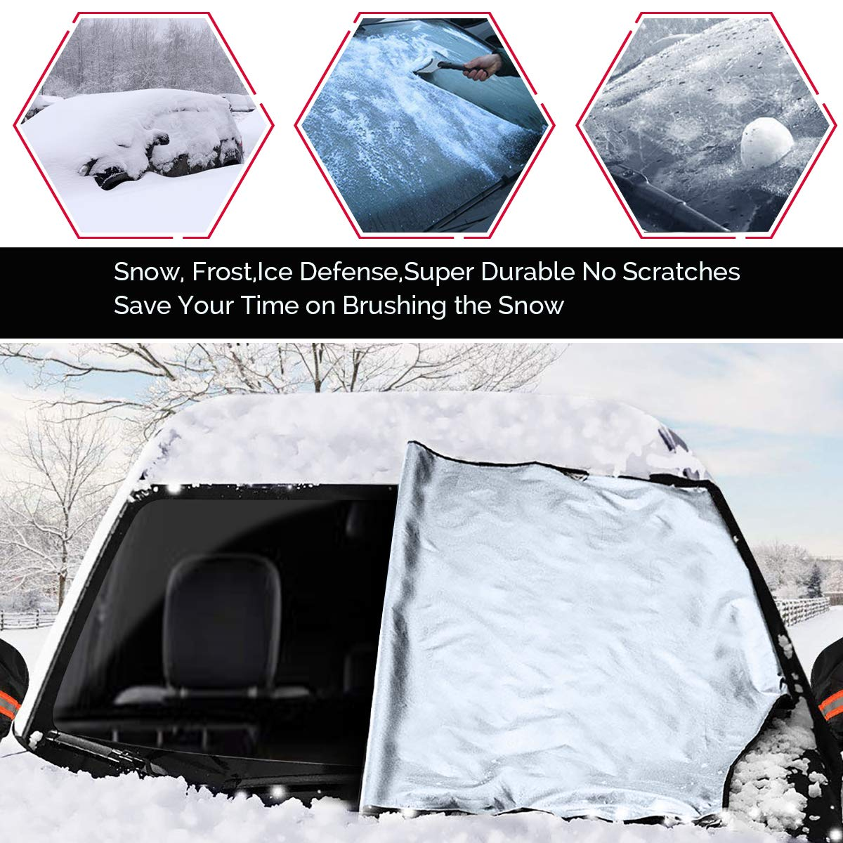 Snow Winter Windshield Cover Fits Most Cars Mikikin Windshield Snow Ice Cover Ice Frost Guard Hooks /& Built-in Magnet Design Magnetic Car Windshield Cover with Wiper Visor Protector UV Defense