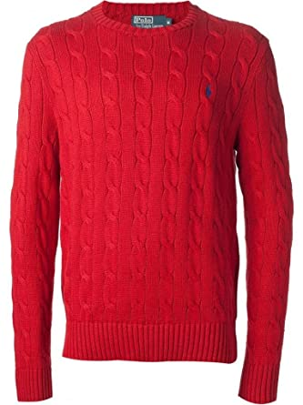 Polo Ralph Lauren Men's Cabled Crewneck Sweater, Red, L at Amazon ...