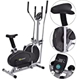 Gymax 2 IN 1 Elliptical Fan Trainer Exercise Bike Indoor Home Cycling Fan Bike Exercise Machine