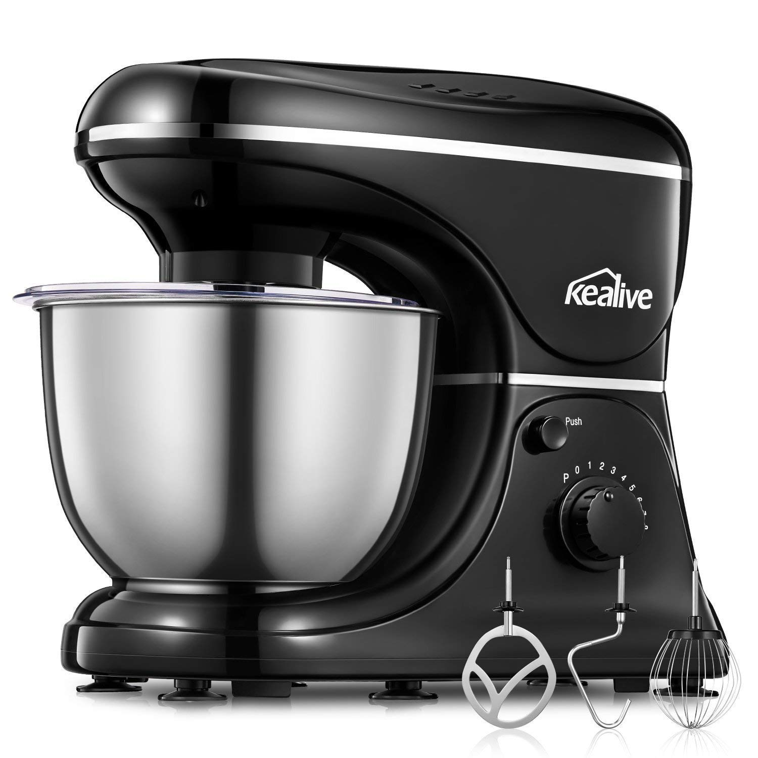 Kealive Stand Mixer, 8 Speed 700 Watt Kithchen Mixer with 5-Quart Stainless Steel Bowl, Dough Hooks, Whisk, Beater, Pouring Shield, Dough Mixer, Black LB9001B