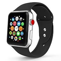 Iyou pour Apple Watch Bracelet 38MM/42MM, Silicone Souple Remplacement en Bracelet Sport Classique pour iWatch 2017 Apple Watch Série 3/2/1, édition, Nike +, Plus de Couleurs Choisir