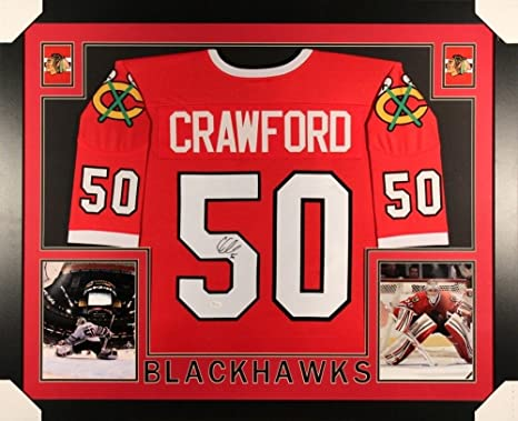 4da4de079 Image Unavailable. Image not available for. Color  Corey Crawford  Autographed Signed Blackhawks 35x43 Deluxe Framed Jersey ...