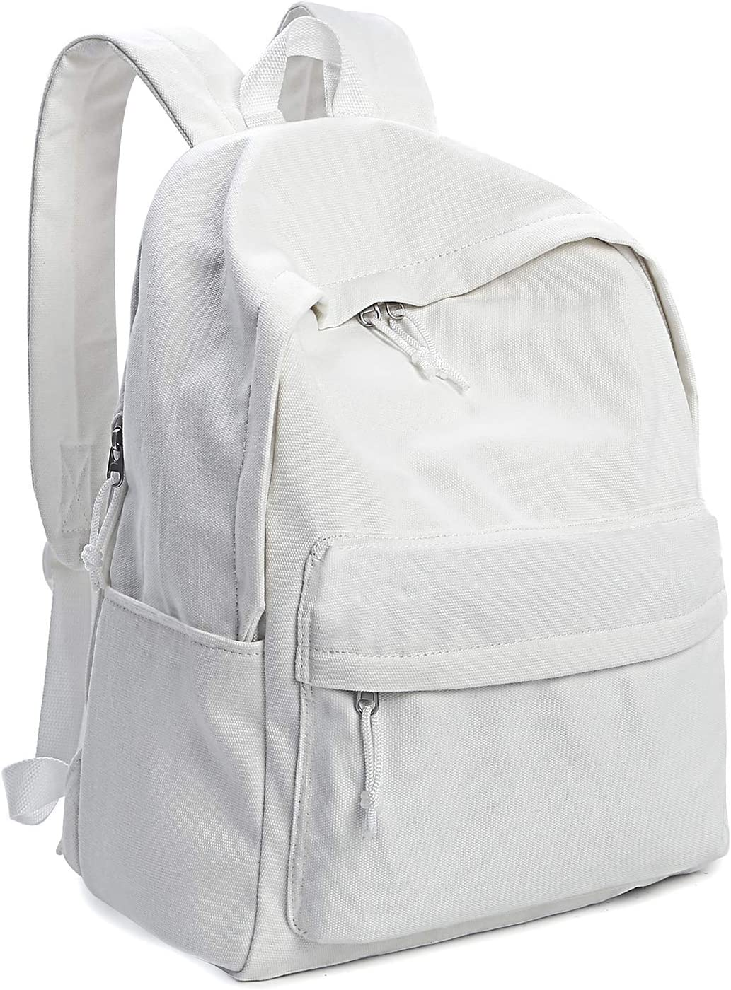 Zicac Unisex DIY Canvas Backpack Daypack Satchel Backpack White, New Upgrade With Side Pocket