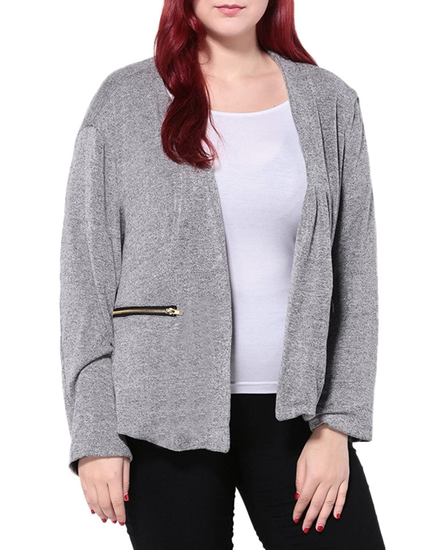 Woo2u Women Plus Size Casual Long Sleeve Open Front Lightweight Coat