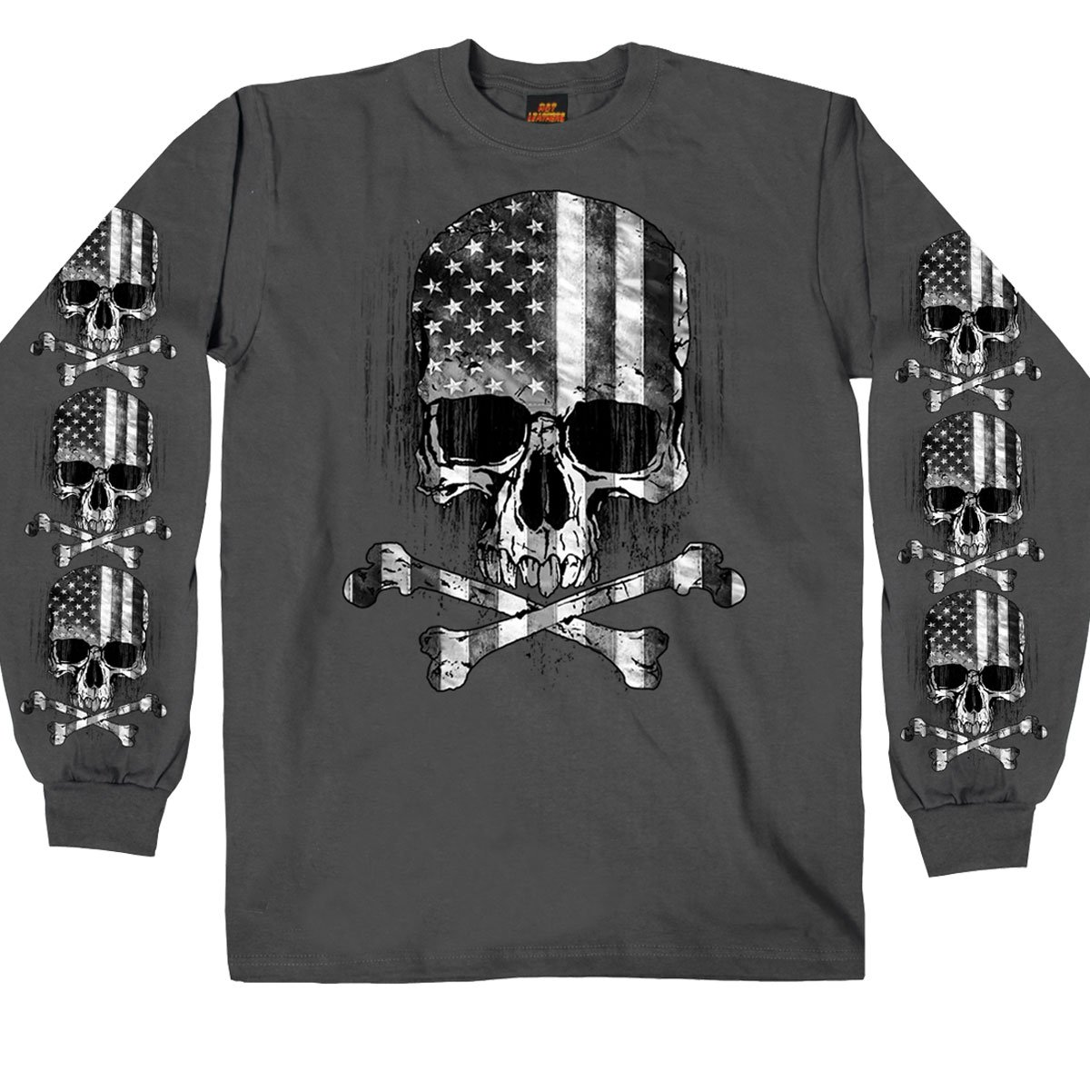 Hot Leathers Men's Long Sleeve Flag Skull Shirt (Charcoal, X-Large) GMS2391-9908