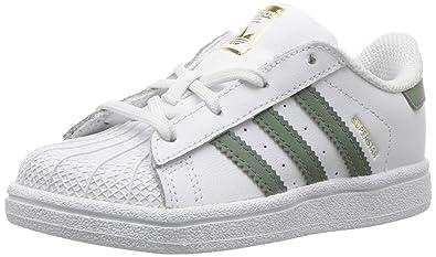 regarder fd8f0 840d1 adidas Originals Superstar, Chaussures Unisexe Enfants - Blanc - Blanc,  Vert, doré métallisé, 26.5 M EU Niño EU