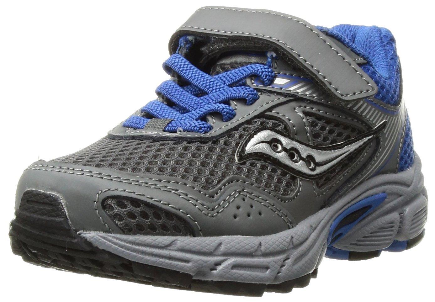 Saucony Cohesion 10 A/C Running Shoe (Little Kid/Big Kid), Grey/Blue, 2 Medium US Little Kid