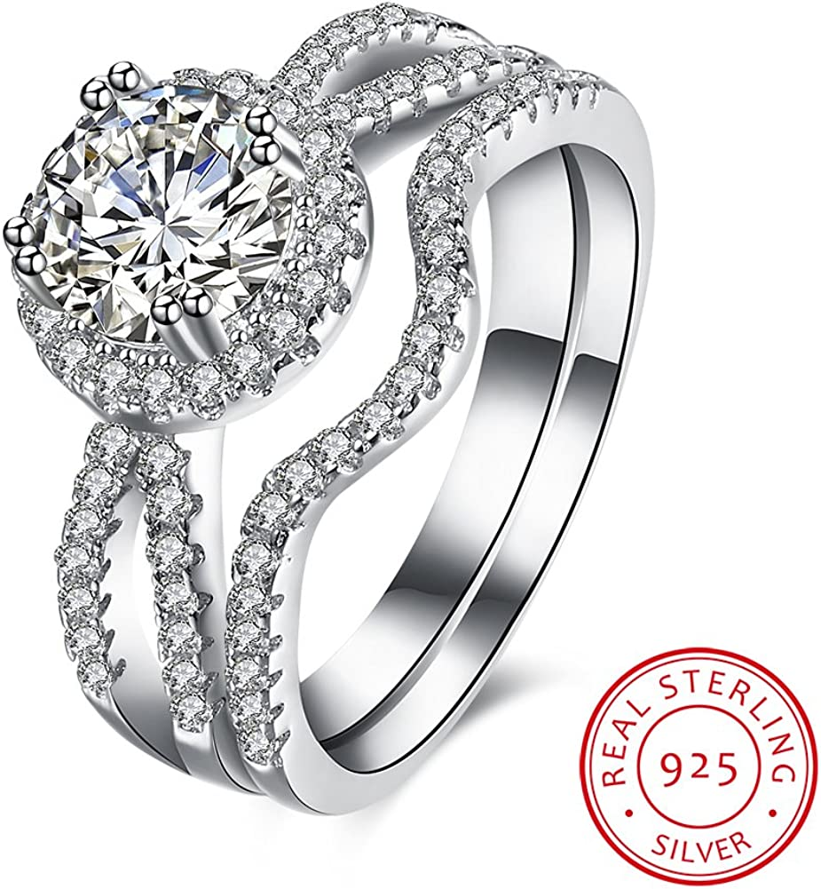 V-MONI S925 Silver Inseparable from The Stone Double Ring Jewelry Wholesaler