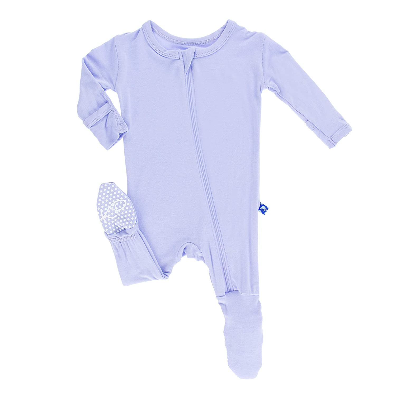 KicKee Pants Little Girls Basic Footie with Zipper-Lilac