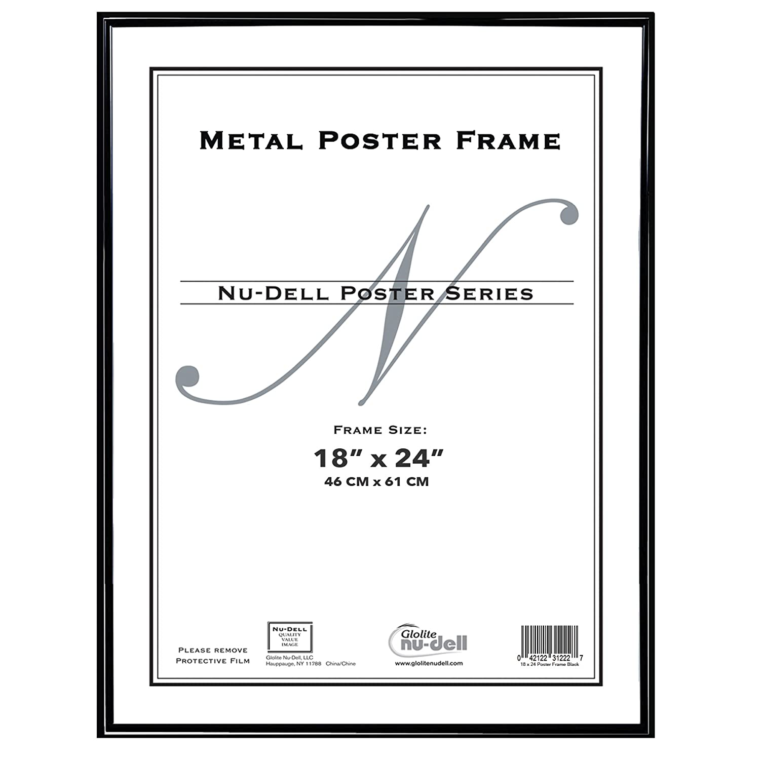 Amazon.com: NuDell 31222 Metal Poster Frame, Plastic Face, 18 x 24 ...