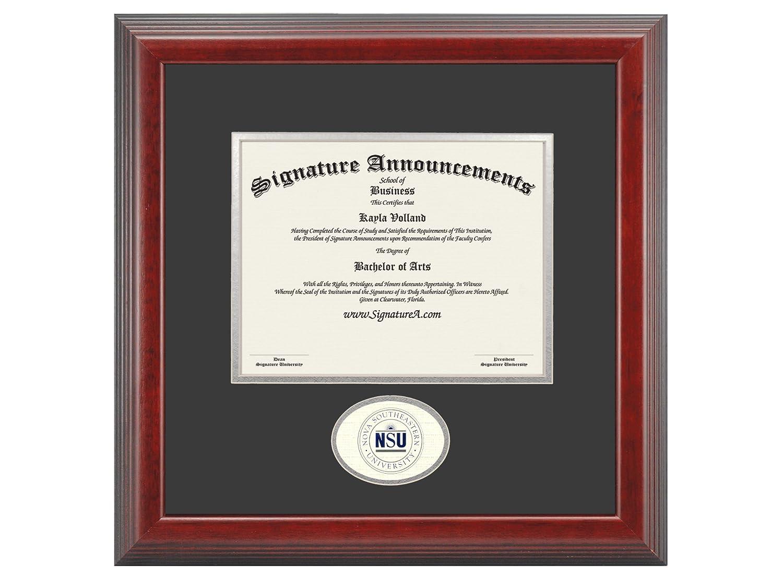 Signature Announcements Nova-Southeastern-University Undergraduate Sculpted Foil Seal Graduation Diploma Frame 16 x 16 Cherry
