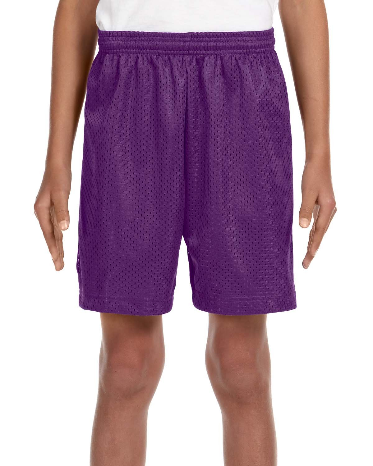 A4 NB5301-PUR Lined Tricot Mesh Shorts, X-Small, Purple