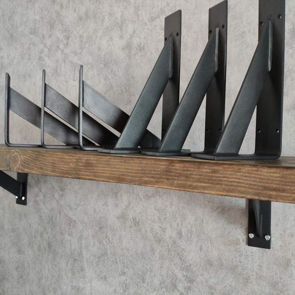 Soporte de /ángulo Estantes Escuadras de Hierro Forjado de 90 Grados-Blanco//Negro 6 Piezas OWUV Soporte tri/ángulo de Pared escuadras para estanterias Metal