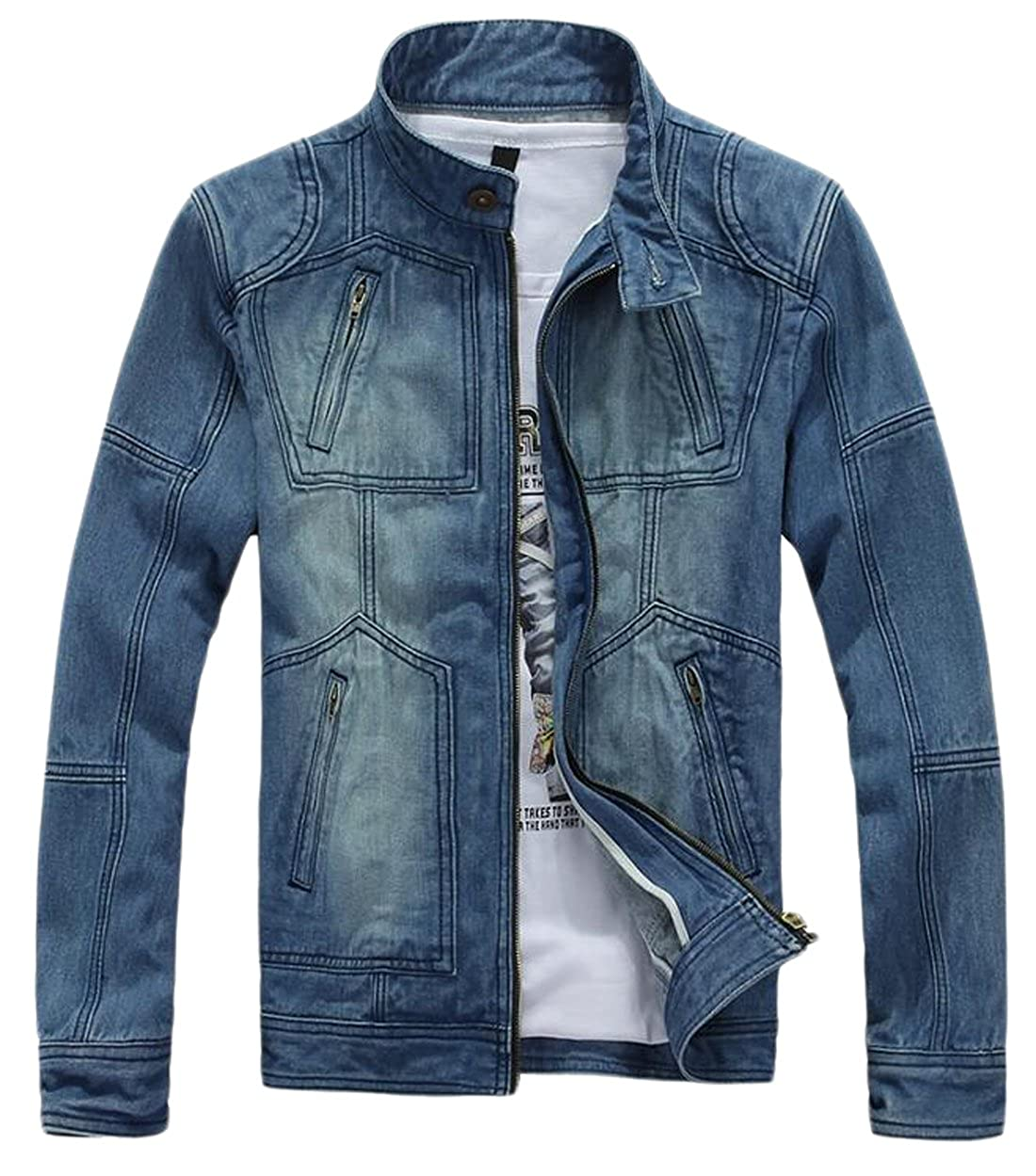 Ubling Mens Hipster Zipper Detail Washed Motorcycle Denim Jacket