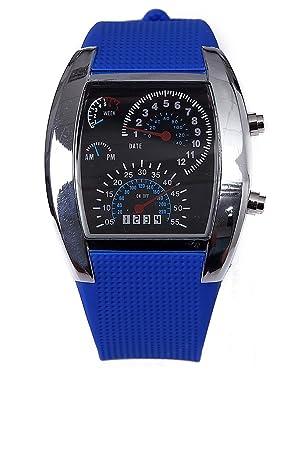 Blanco y Azul Pulsera Digital Reloj Coche medidor Dial LED luz Hombres Reloj Correa de Zafiro: Amazon.es: Juguetes y juegos