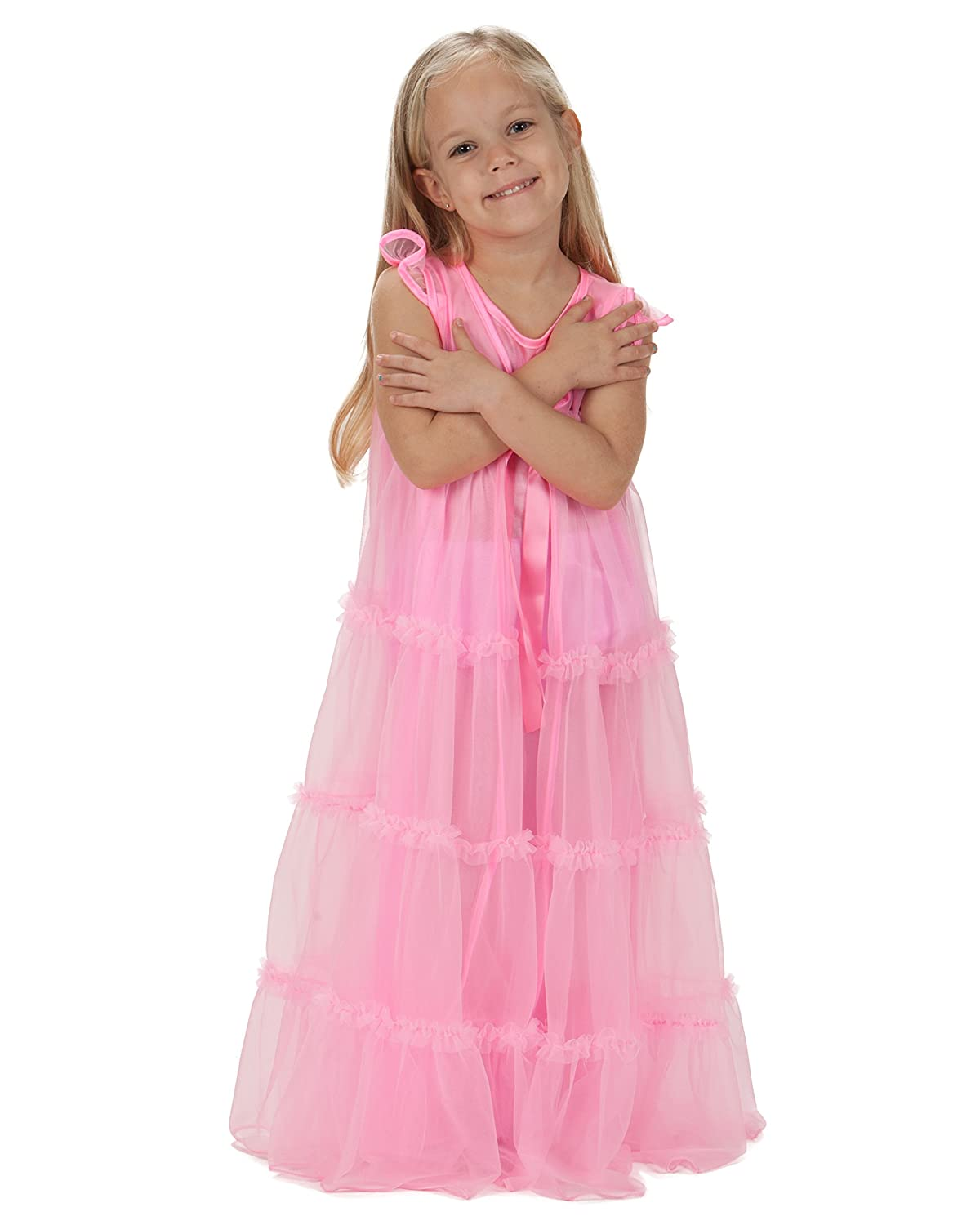 21812cc839 Amazon.com  Laura Dare Big Girls Bright Pink Princess Peignoir Nightgown  and Robe Set