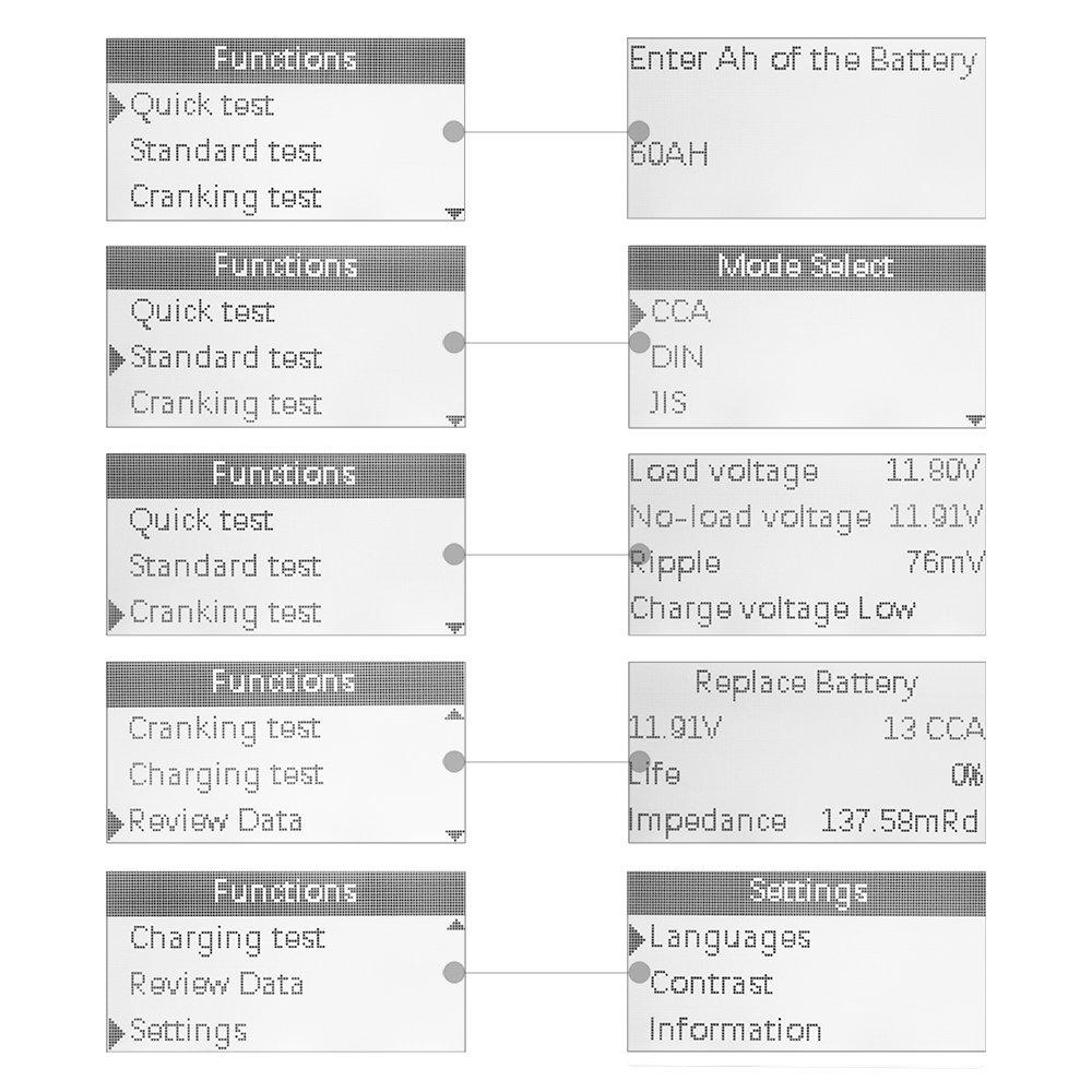 JDiag FasCheck BT-200 Professional Car Load Battery Tester 12V 100-2000 CCA 220AH Digital Battery Analyzer Bad Cell Test Tool for Automotive/Truck/Motorbike Etc(Green) by JDiag (Image #6)