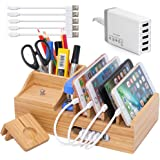 Bamboo Charging Station for Multiple Devices with 5 Port USB Charger, 5 Charger Cables and Apple Watch Stand. Wood…