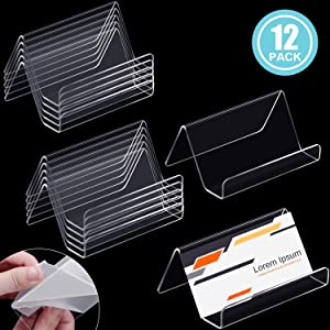 12 Pieces Business Card Holder, Clear Acrylic Business Cards Display Holders Stand for Desk Desktop Name Card Rack Organizer Capacity 50 Cards