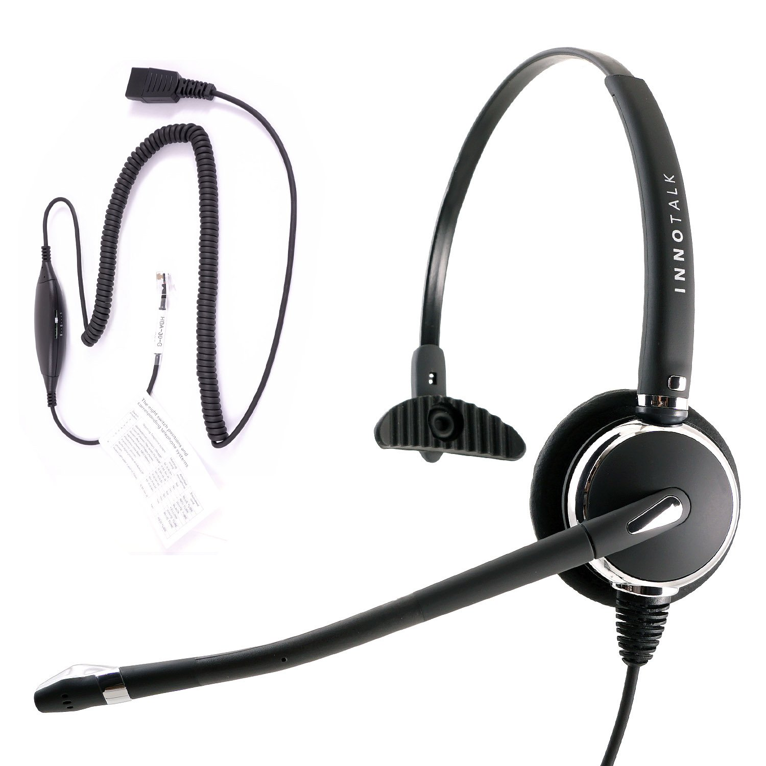 RJ9 Headset - Luxury Professional Monaural Headset + Virtual RJ9 cord for ANY phone's modular jack, Compare GN1200 Smart cord by InnoTalk