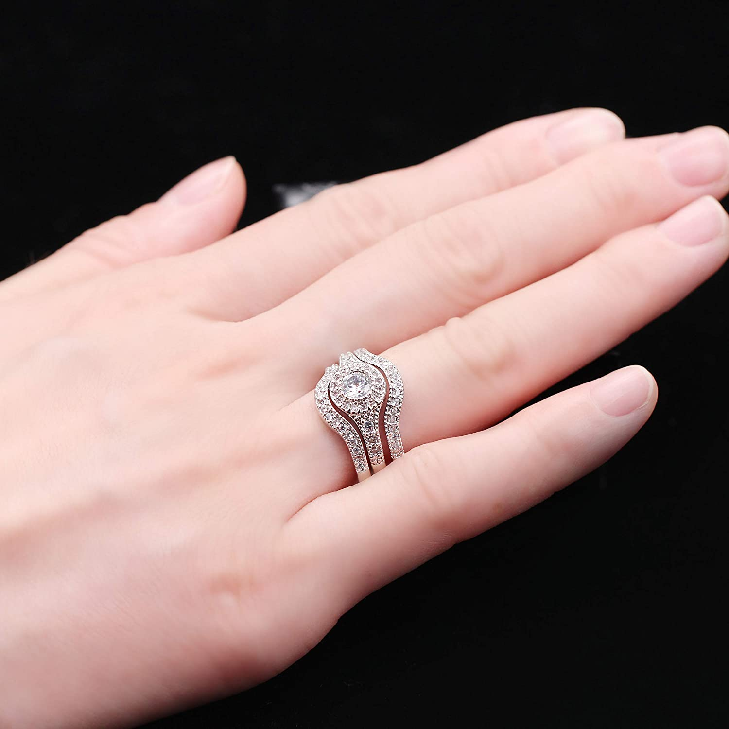 Uloveido 3 Pieces White Gold Plated Diamond Cut Round Cubic Zirconia Halo Engagement Wedding Stackable Rings Set for Women Girls RA0346 Size L O Q S T