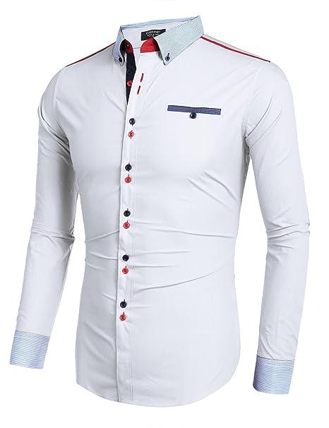 9f55d551e71c Coofandy Mens White Shirt Long Sleeve Button Down Cotton Casual Shirt  XX-Large  Amazon.co.uk  Clothing