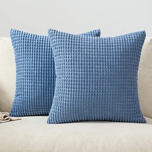 MIULEE Corduroy Big Corn Square Throw Pillow Case Cushion Cover Home for Sofa Chair CouchBedroom Decorative Pillowcase 16x16 Inch 40x40cm Baby Blue