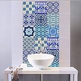 Extsud Adesivi per Piastrelle Stile Blu e Bianca Porcellana Wall Stickers da Mattonelle Parete in PVC Impermeabile Autoadesivo Decorazione per Cucina Bagno Fai da Te Set di 10 Pezzi