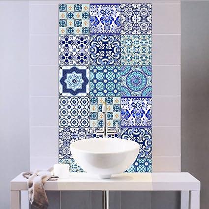 Extsud Adesivi per Piastrelle Stile Blu e Bianca Porcellana Wall ...