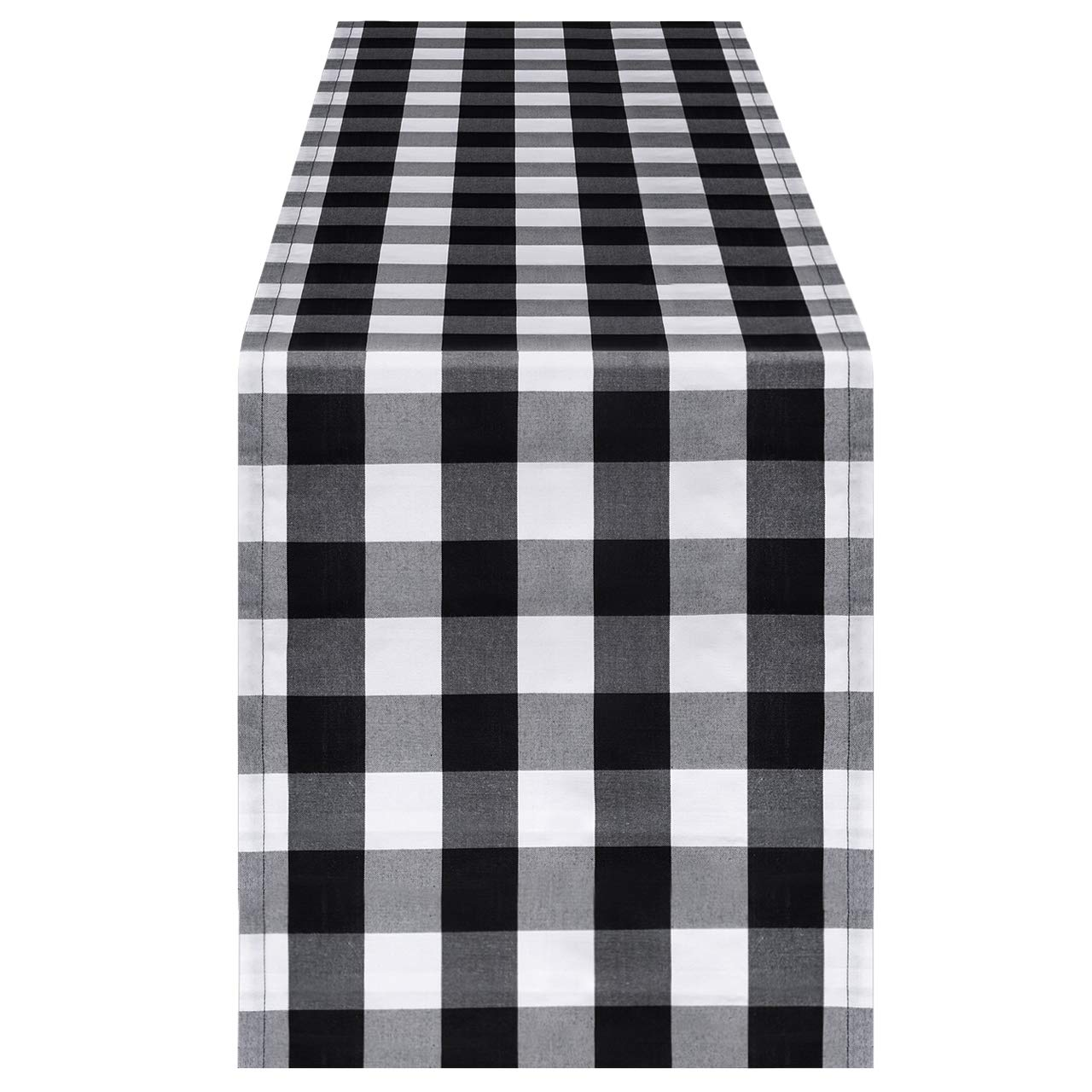 InnoGear 14 x 108 inch Buffalo Check Table Runner Polyester Cotton Black and White Plaid for Indoor and Outdoor Parties, Family Dinner, Thanksgiving, Christmas & Gathering