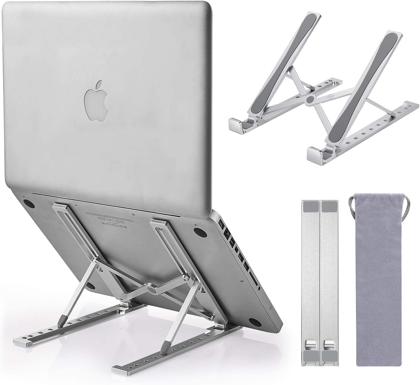 KABCON Quality Laptop Stand,Portable Foldabele Aluminum Adjustable Solid Desktop Tablet Holder Up to 15-in Laptops Stand for MacBook Air Pro,Dell XPS, HP,Lenovo,ASUS Transformer, Etc.with a Carry Bag