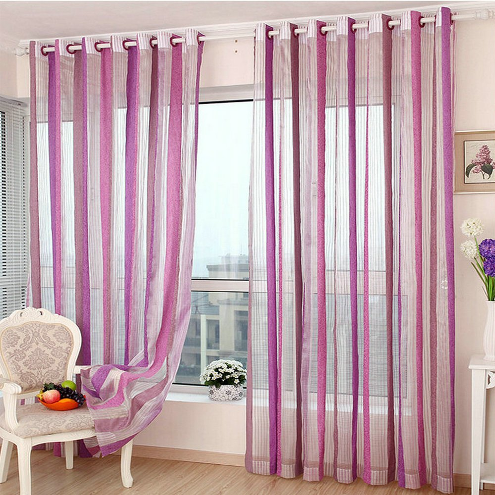 Chenille Sheer Curtains for Living Room Bedroom Vertical Striped No Beads Colorful Modern Style Window Treatment (2 pcs/lot) (Purple, 98'' W x 98'' L)