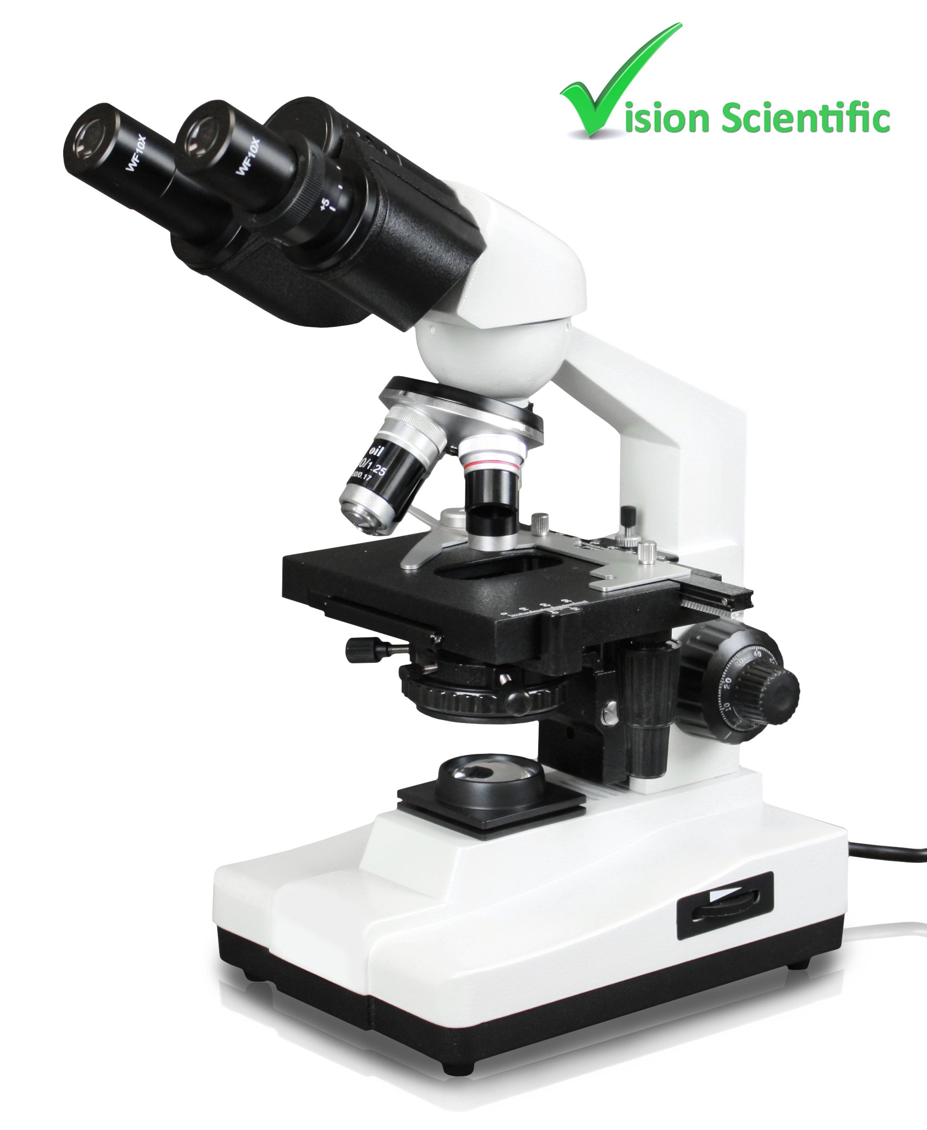 Vision Scientific VME0007B-100-LD Binocular Compound Microscope, 10x WF Eyepieces, 40x-1000x Magnification, LED Illumination, Coaxial Coarse & Fine Focus, 1.25 N.A. Abbe Condenser by Vision Scientific