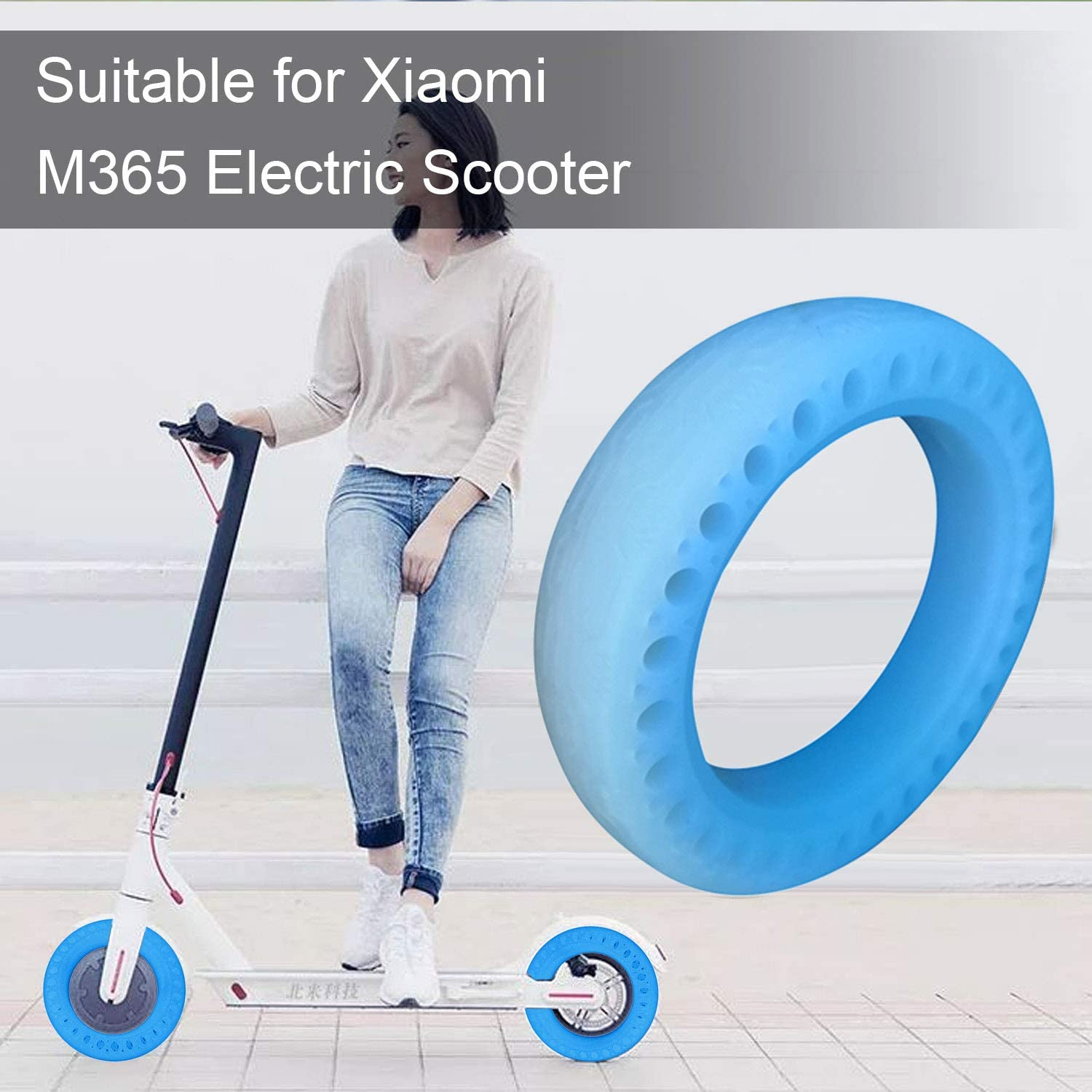 Bemars Honeycomb Hole Solid Tubes Replacement Tyre Tires Compatible with Xiaomi Xiao Mi Mijia M365 Electric Scooter