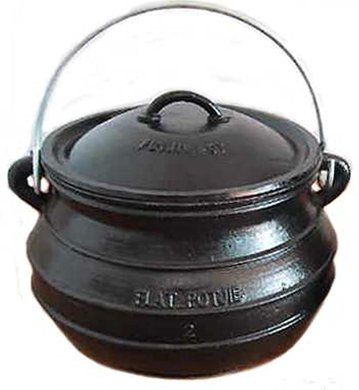 7QT Cast iron Dutch oven #2 Flat bottom Potjie Bean pot Campfire Survival