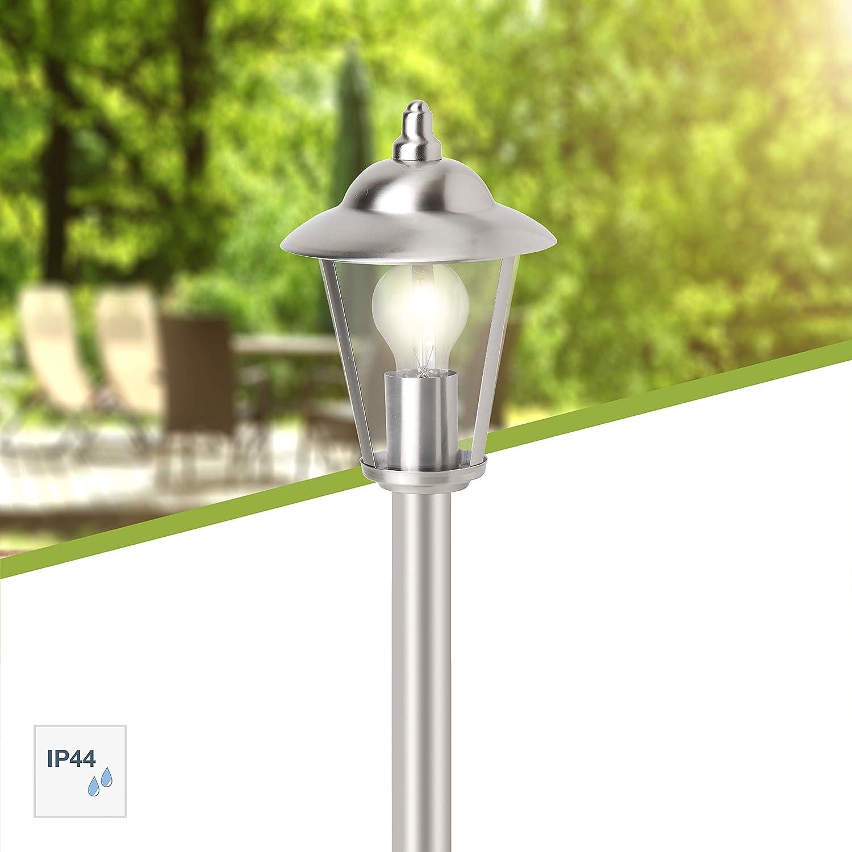 Brilliant 40385/82 Neil Außenstandleuchte, 90 cm, 1-flammig, E27, 60 W, LED geeignet, Metall/Kunststoff/Edelstahl, IP44, spritzwassergeschützt Edelstahl