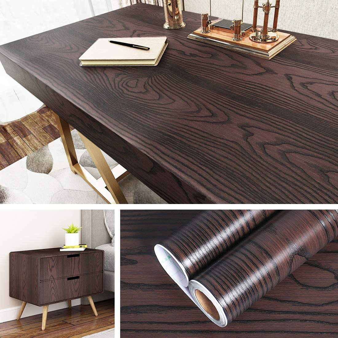 Livelynine Peel and Stick Wallpaper Wood for Cabinets Self Adhesive Shelf Liners Brown Wood Wallpaper Stick and Peel Wood Paper Kitchen Desk Old Furnitures Decor Removable Waterproof 15.8x78.8 Inches