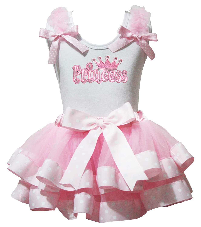 Birthday Dress Princess White Shirt Polka Dots Ribbon Pink Petal Skirt Set Nb-8y