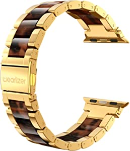 Wearlizer Tortoise Resin Compatible with Apple Watch Bands 38mm 40mm Womens Mens for iWatch Wristbands Gold Stainless Steel Replacement Classic Strap Sleek Bracelet Metal Buckle Series 5 4 3 2 1 Sport