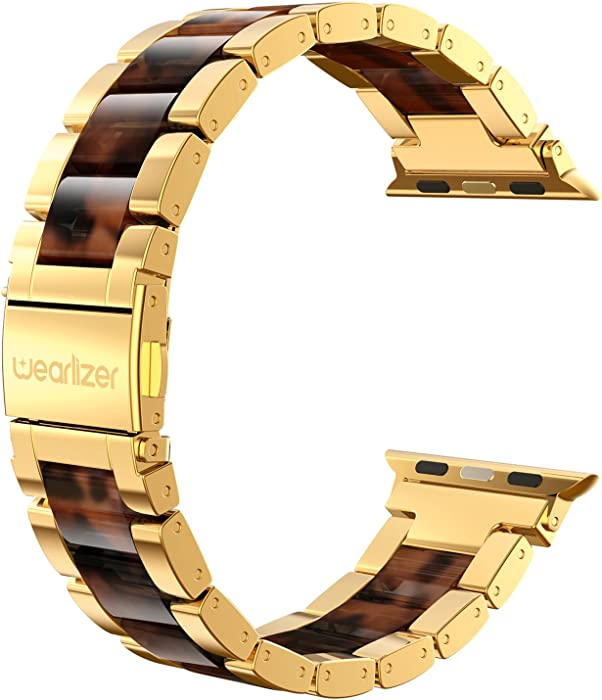 Wearlizer Compatible with Apple Watch Band 42mm 44mm Replacement for iWatch SE Womens Mens Wristbands Gold Stainless Steel Luxury Tortoise Resin Strap Metal Sleek Bracelet Clasp Series 6 5 4 3 2 1