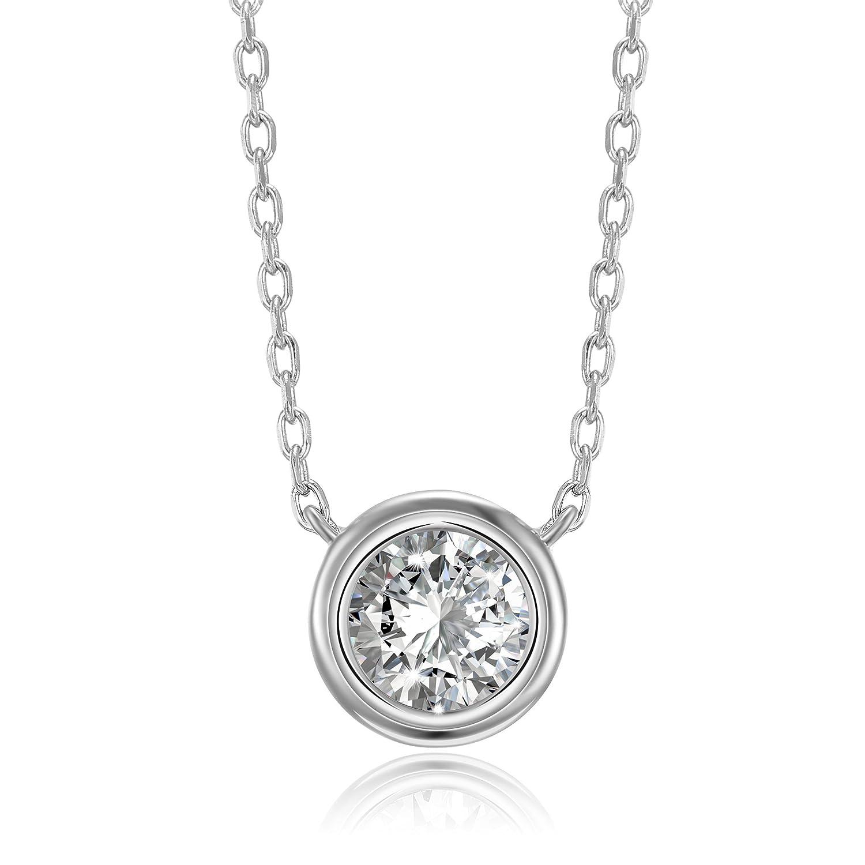 PAVOI 14K Gold Plated 1.00 ct (D Color, VVS Clarity) Simulated Diamond CZ Bezel-Set Solitaire Choker Necklace 16 - 18 TA74R