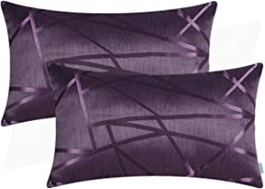 CaliTime Pack of 2 Pillow Covers Cases for Couch Sofa Home Decor Modern Shining & Dull Contrast Triangles Abstract Lines Geometric 12 X 20 Inches Deep Purple