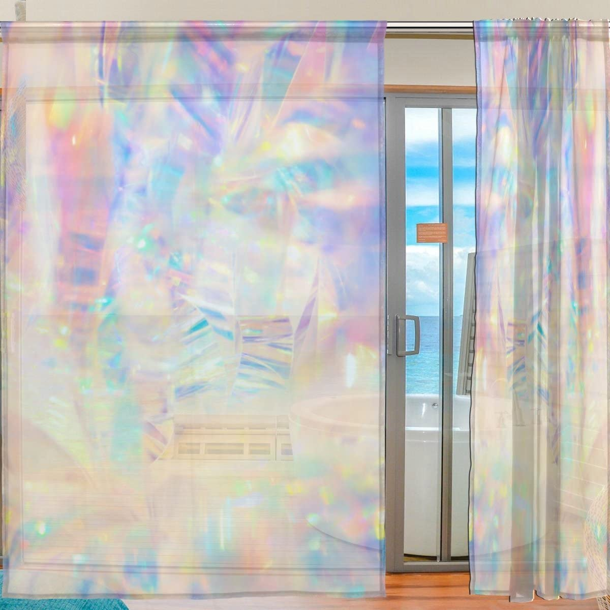 Floral Holographic Iridescent Metallic Semi Sheer Curtains Window Voile Drapes Panels Treatment-55x78in for Living Room Bedroom Kids Room, 2 Pieces