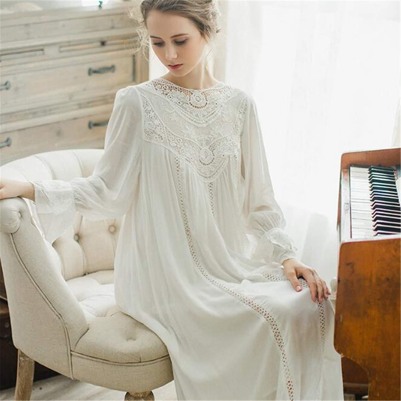 bluee Long Sleeve Lace Cotton Nightdress Female French Palace Retro Lace Pajamas Elegant Romantic Princess Home Service bluee L