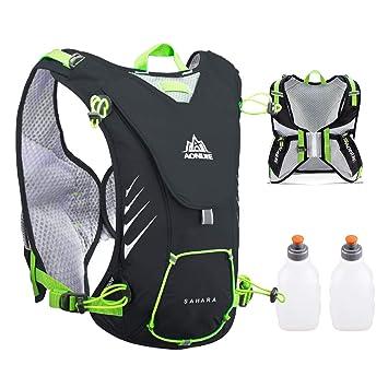 TRIWONDER Chaleco de hidratación Ligero 8L Superior Mochila para Trail Running Ciclismo Maratón para Mujer Hombre Niño (Negro- con 2 Botellas de Agua): ...