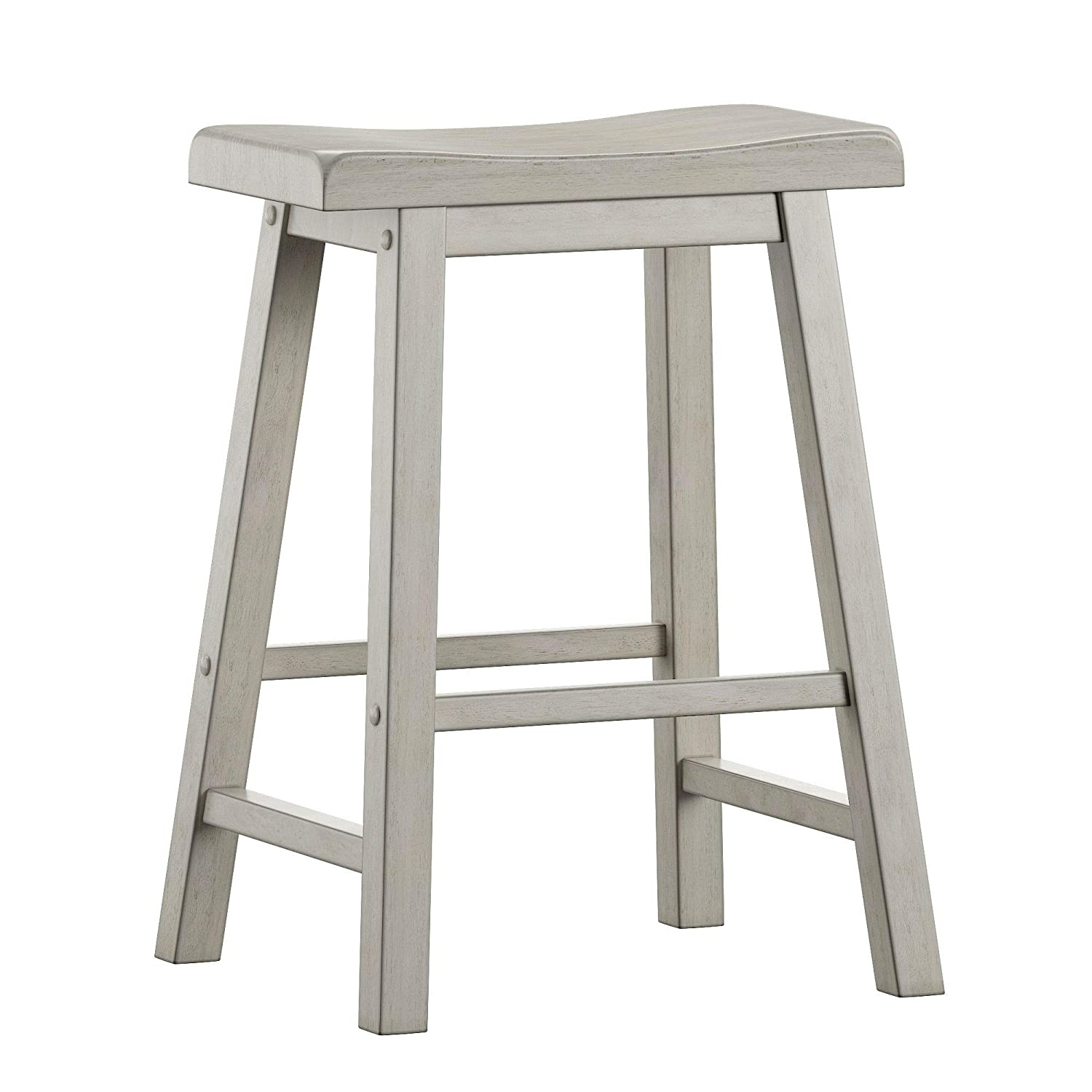 ModHaus Living Modern Transitional 24 inch Saddle Seat Backless Set of 2 Barstool - Includes Pen (White)