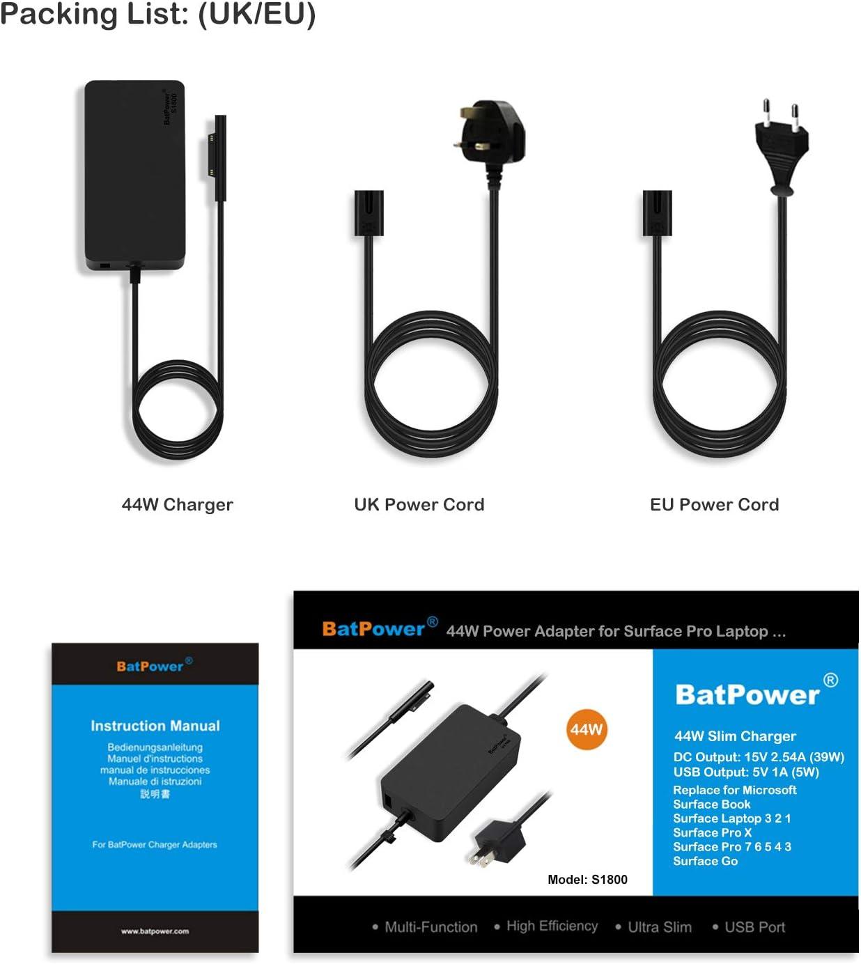 BatPower 15V 2.58A 44W Ladeger/ät Netzteil f/ür Surface Laptop Surface Pro 6 5 4 3 und Surface Go Book Tablet Microsoft 1706 1800 1735 1736 Charger Adapter ladekabel mit 5V USB Port und EU-Netzkabel