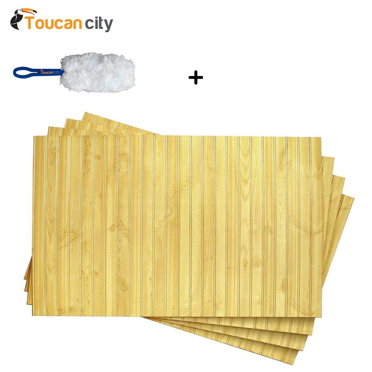 Toucan City Microfiber Dash Duster and 1/4 in. x 32 in. x 48 in. DPI Goldendale Wainscot Panel (4-Pack) HD18532484