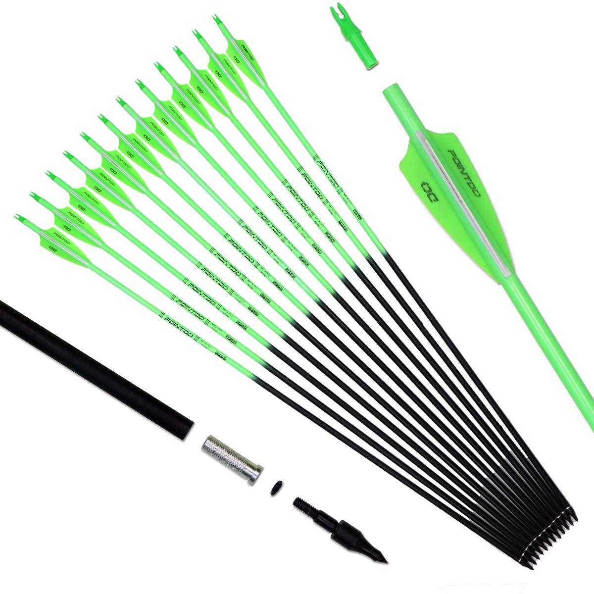 Pointdo 30inch Carbon Arrow Fluorescence Color Targeting and Hunting Practice Arrows for Recurve and Compound Bow with Removable Tips (Fluorescein Green) by Pointdo