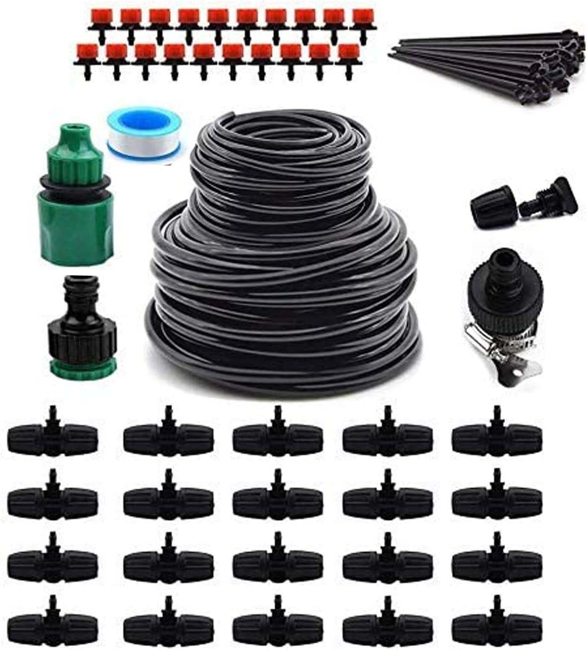 """Upgrade Garden Irrigation System,100ft Irrigation System 1/2"""" & 1/4"""" Blank Distribution Tubing Watering Drip Kit/Irrigation Kits Automatic Mist Irrigation Equipment Set for Garden,Flower Bed,Lawn"""